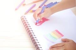 小孩画在白皮书的` s手红色心脏 免版税库存照片