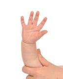 小孩婴孩有五个手指的孩子手 免版税库存图片