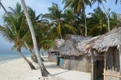 小屋和一些椰子树在一个偏僻的海岛 免版税库存照片