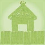 小屋和竹子篱芭  库存例证