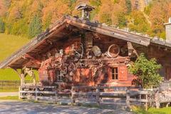 小屋在槭树后面的村庄中心 库存照片
