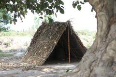 小屋由果壳和竹子做成 库存图片