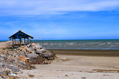 小屋码头石头 库存照片