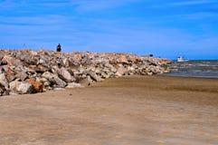 小屋码头石头 库存图片