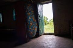 小屋,适应,远足在Simien山,埃塞俄比亚 库存图片