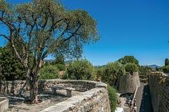 小山、树和城市墙壁全景在圣徒保罗deVence 库存图片