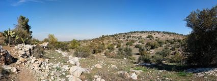 小山使地中海环境美化 免版税库存图片