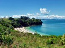 小山和树围拢的被保护的海滩 免版税库存照片