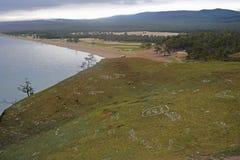 小山和贝加尔湖片断  库存图片