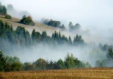 小山和雾 免版税库存图片