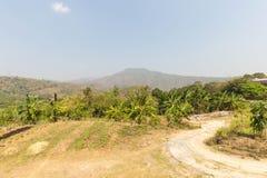 小山和风景区域农夫在收获innovatio以后 库存照片