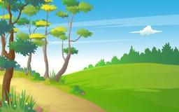 小山在自然平静的看法的道路方式的例证  库存例证