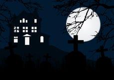 小山的一个被困扰的房子在有墓碑的一个坟园, hor上 皇族释放例证