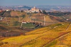 小山的五颜六色的秋季葡萄园在意大利 免版税库存图片