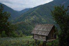 小山的小老房子 库存照片
