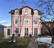 小山的桃红色木房子在站立反对有白色修剪的其他红色房子的Vaxholm 免版税库存照片