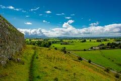 从小山的看法与在风景的绵羊在爱尔兰 库存照片