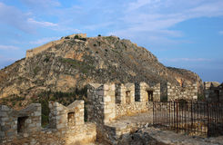 小山的Palamidi堡垒, Nafplion,希腊 库存图片