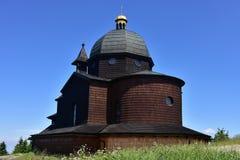 小山的Radhost教堂 库存照片