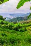 从小山酸碱度的大菩萨的美好的全景山景 免版税库存照片