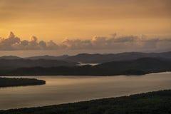从小山顶的顶视图日落时间的 免版税图库摄影