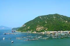 小山香港海运顶视图 免版税库存照片