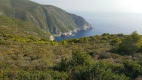 从小山,扎金索斯州,希腊的顶端令人敬畏的看法 库存照片