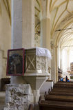 从小山, Sighisoara,特兰西瓦尼亚的教会 免版税库存图片