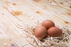 小巢用在木头的鸡蛋 免版税库存照片
