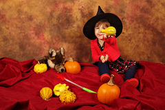 小巫婆获得乐趣为万圣夜用南瓜和帽子 图库摄影