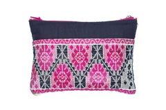 小布料袋子被编织的桃红色黑色 库存照片