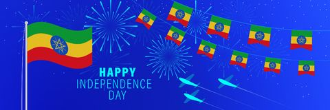 小店2埃塞俄比亚美国独立日贺卡 与烟花、旗子、旗杆和文本的庆祝背景 库存例证