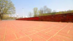 小径和步在春天公园 铺与瓦片 照相机移动低在地面上 股票视频