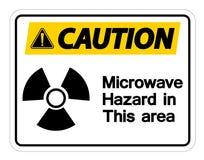 小心微波在白色背景,传染媒介llustration的道路危险标志 库存例证