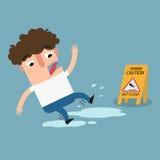 小心湿楼层的符号 滑倒被隔绝的例证的危险 免版税库存照片