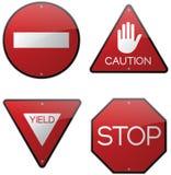 小心警告停车牌 库存照片