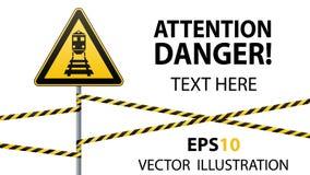 小心-危险警报信号安全 当心火车 与黑图象的黄色三角 在杆和保护的丝带的标志 Vect 库存图片