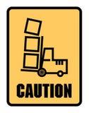 小心寻找铲车标签或标志 库存照片