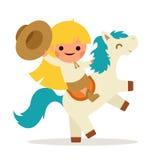 小愉快的女孩乘驾马小马牛仔女牛仔挥动的帽子标志微笑的儿童象概念平的设计 免版税库存照片