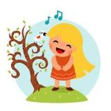 小愉快的女孩唱鸟树标志微笑的儿童象概念平的设计传染媒介例证 免版税库存图片