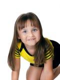 小愉快的女孩被隔绝在白色 免版税库存照片