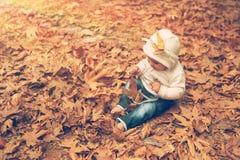 小愉快的男孩在秋天公园 免版税库存图片