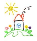 小房子的彩色塑泥 库存图片