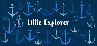 小探险家停住横幅手画与墨水刷子 皇族释放例证
