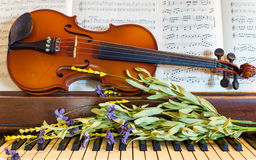 小提琴、钢琴和春天花 免版税库存照片