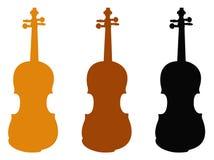 小提琴剪影-无意识而不停地拨弄,是在提琴的一台木串仪器 向量例证