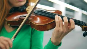 小提琴和弓在一位女性音乐家的手上 股票视频