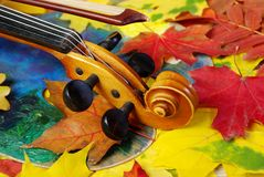 小提琴和秋叶 库存照片