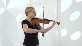 小提琴手在演播室执行在小提琴的一个音乐作品 股票视频