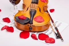 小提琴、笔记和红葡萄酒 免版税库存照片